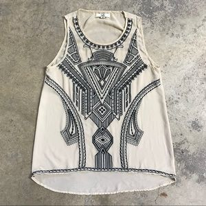 Ya Los Angeles Embroidered Silk Geometric Tank